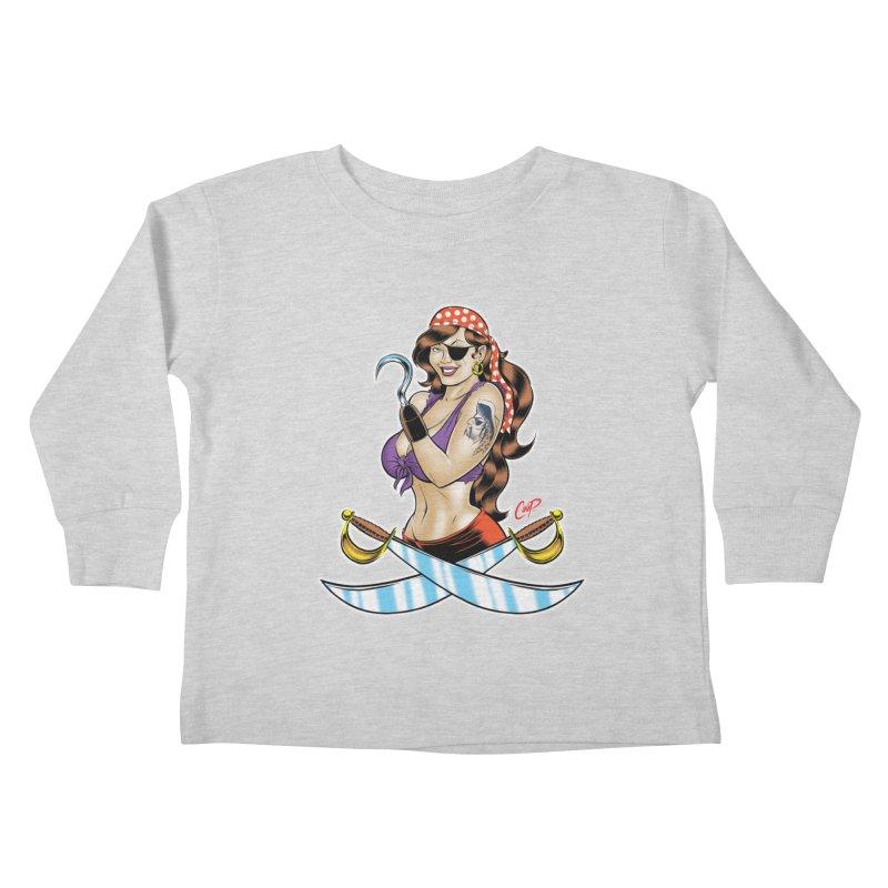 DRAW THE PIRATE Kids Toddler Longsleeve T-Shirt by artofcoop's Artist Shop