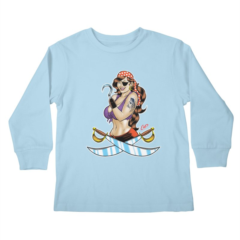DRAW THE PIRATE Kids Longsleeve T-Shirt by artofcoop's Artist Shop