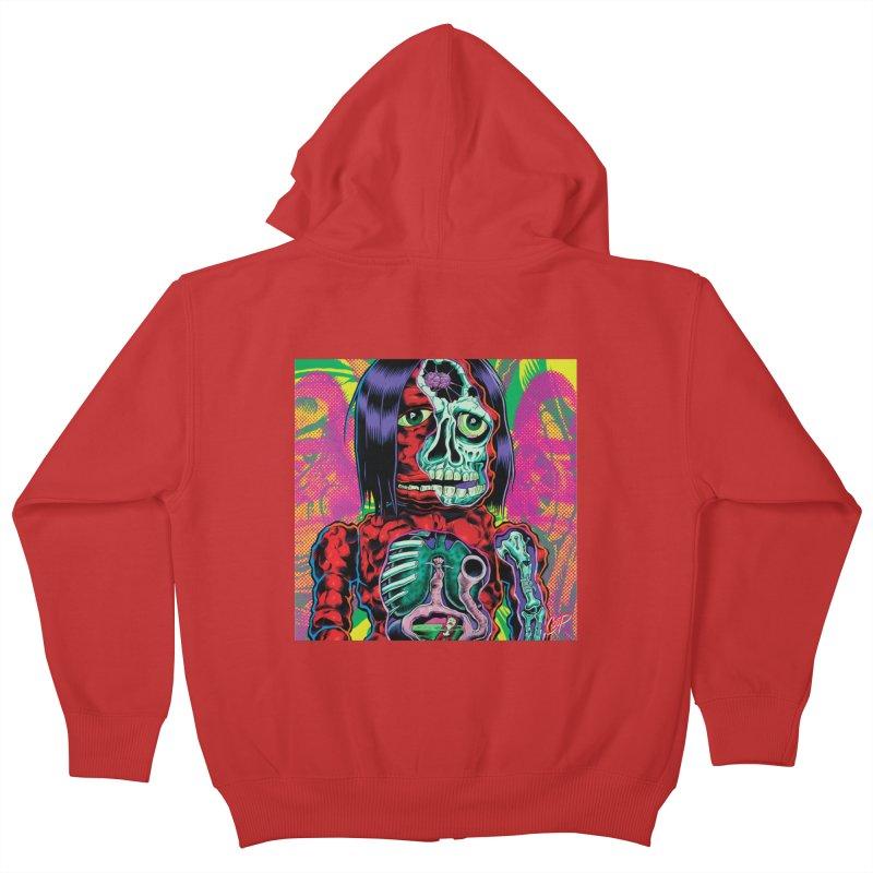 VIOLENT CAVEMAN Kids Zip-Up Hoody by artofcoop's Artist Shop