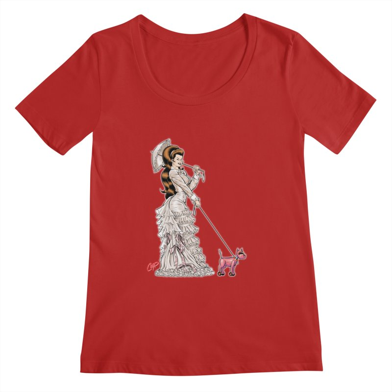 WALKIN THE DOG Women's Scoopneck by artofcoop's Artist Shop