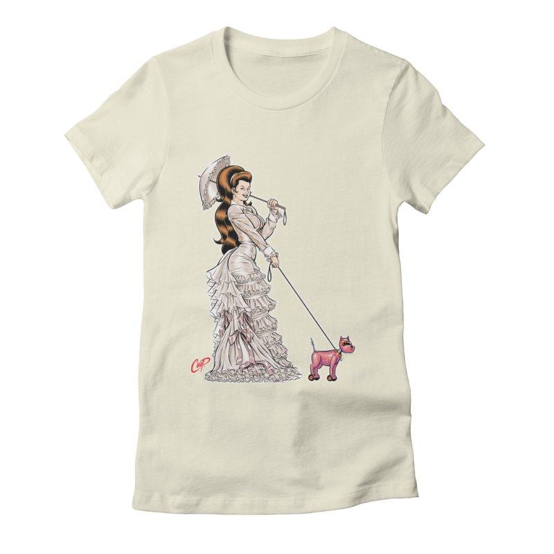 WALKIN THE DOG Women's Fitted T-Shirt by artofcoop's Artist Shop