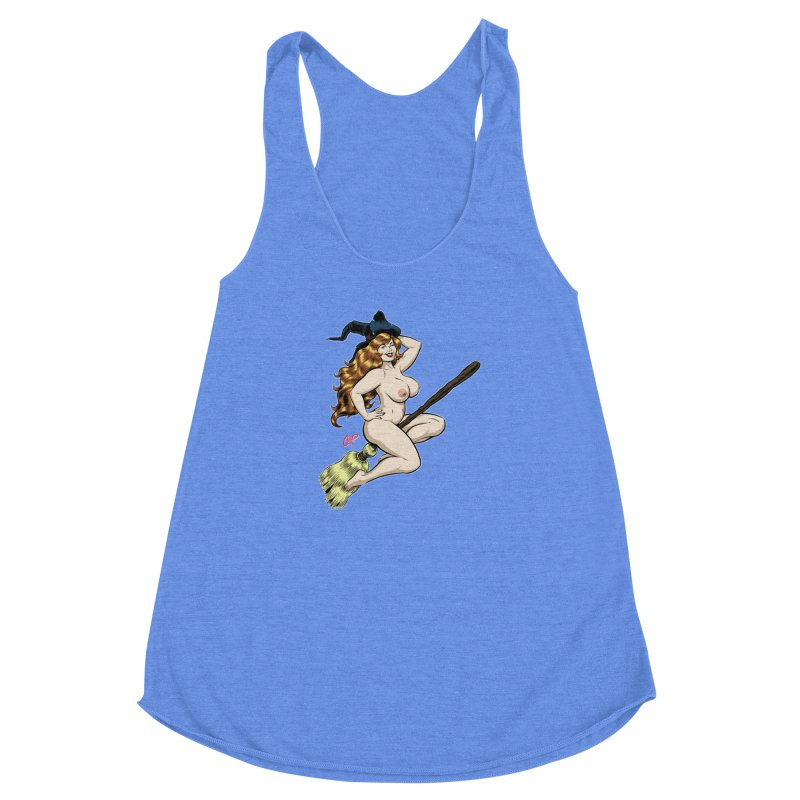 BROOMSTICK WITCH Women's Racerback Triblend Tank by artofcoop's Artist Shop