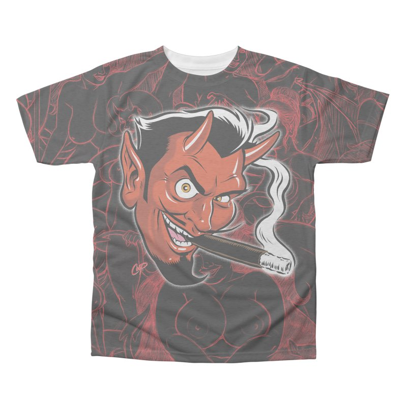 Smoking Devil Men's Triblend All Over Print by The Art of Coop