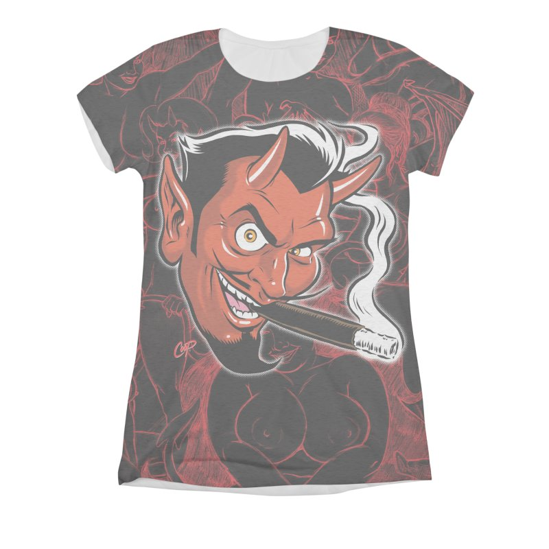 Smoking Devil Women's Triblend All Over Print by The Art of Coop
