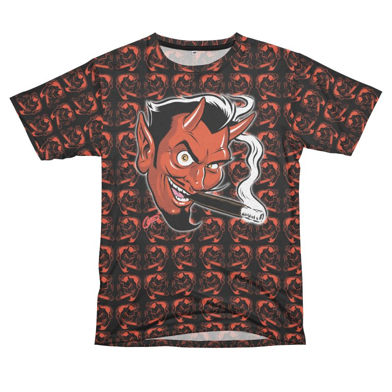 Smoking Devil Men's French Terry T-Shirt Cut & Sew by The Art of Coop