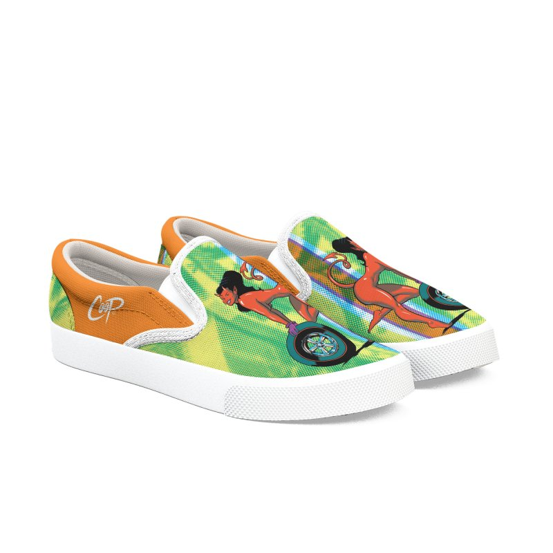 Wheel Girl in Men's Slip-On Shoes by artofcoop's Artist Shop