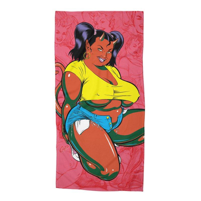 BIG POP GIRL Accessories Beach Towel by artofcoop's Artist Shop