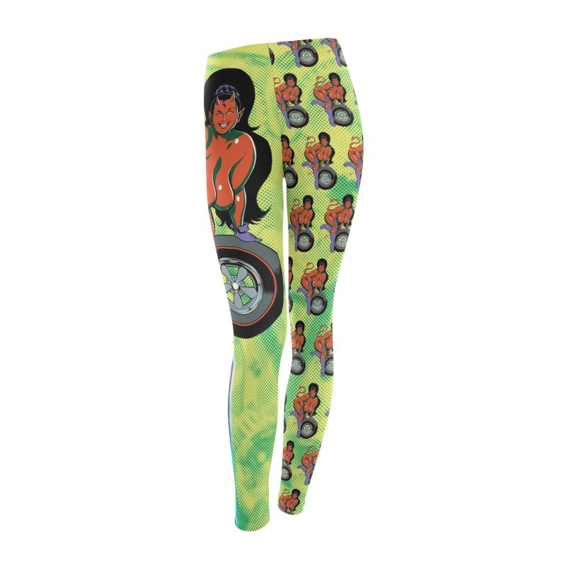 BIG WHEEL GIRL Women's Leggings Bottoms by artofcoop's Artist Shop
