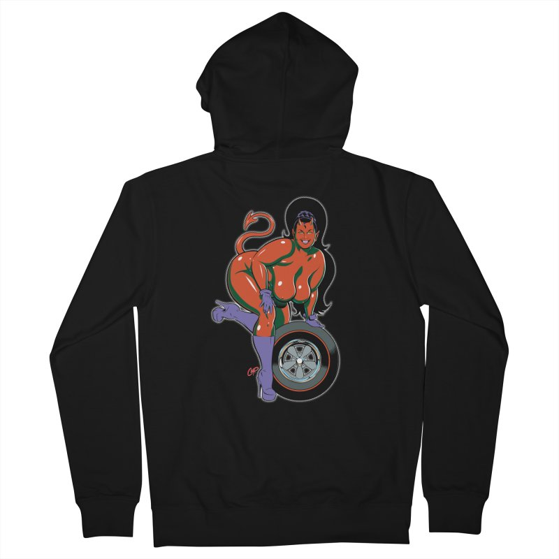 BIG WHEEL GIRL Women's French Terry Zip-Up Hoody by artofcoop's Artist Shop
