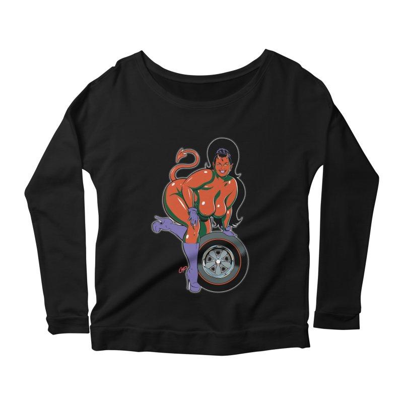 BIG WHEEL GIRL Women's Scoop Neck Longsleeve T-Shirt by artofcoop's Artist Shop