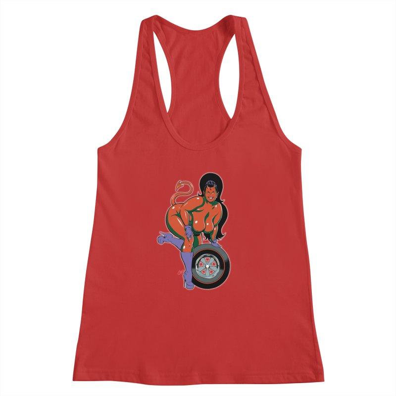 BIG WHEEL GIRL Women's Racerback Tank by artofcoop's Artist Shop
