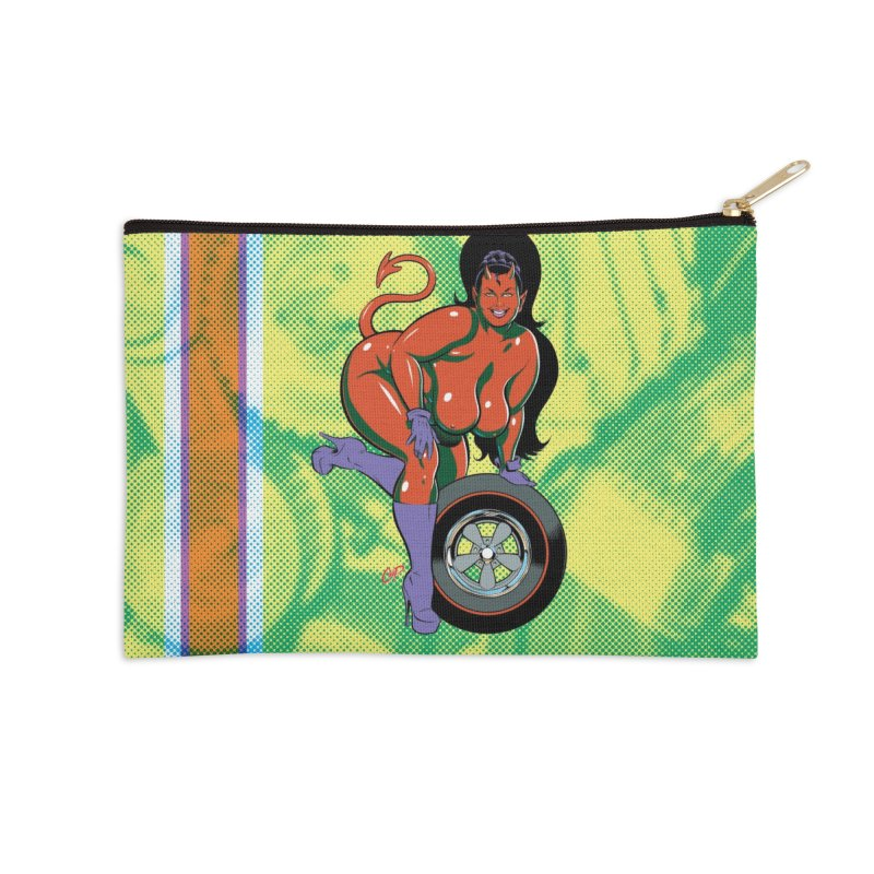 BIG WHEEL GIRL Accessories Zip Pouch by artofcoop's Artist Shop
