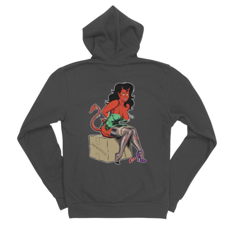 BONDAGE DEVIL GIRL Men's Sponge Fleece Zip-Up Hoody by The Art of Coop