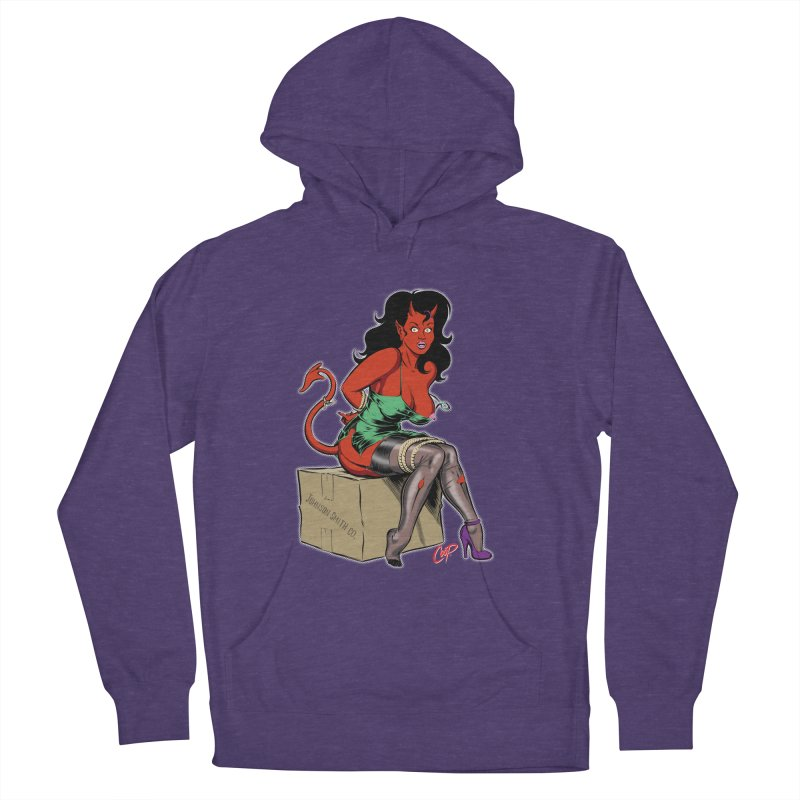 BONDAGE DEVIL GIRL Men's French Terry Pullover Hoody by The Art of Coop