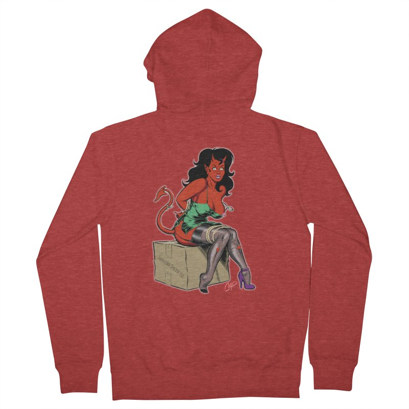 BONDAGE DEVIL GIRL Women's French Terry Zip-Up Hoody by artofcoop's Artist Shop