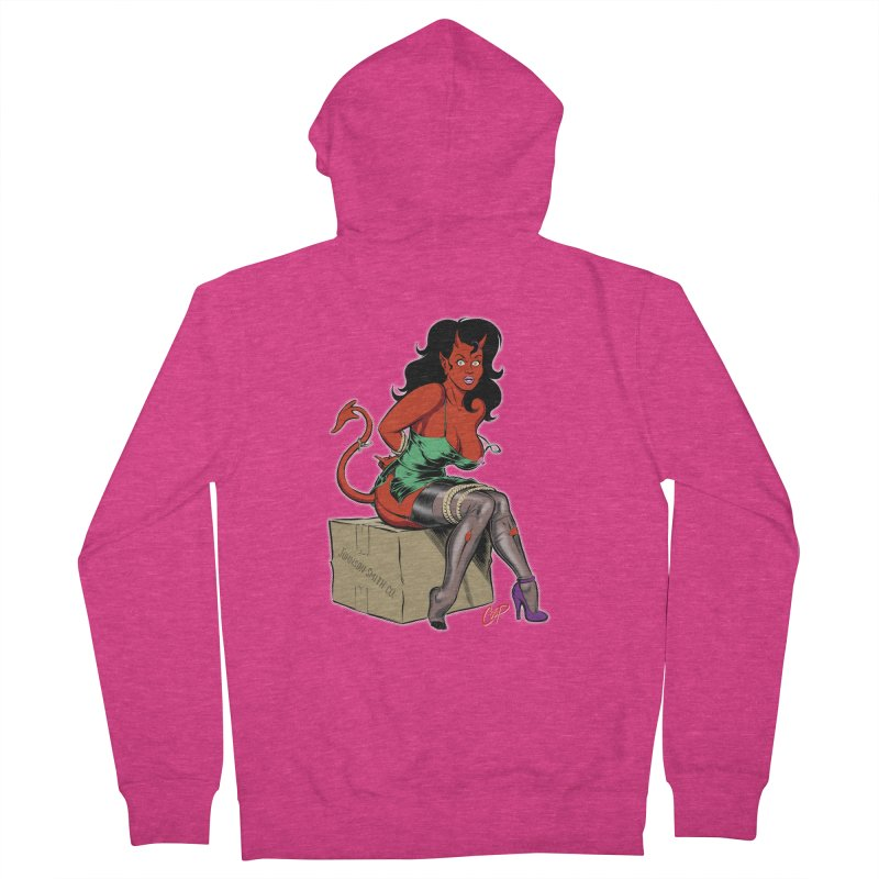 BONDAGE DEVIL GIRL Women's French Terry Zip-Up Hoody by The Art of Coop