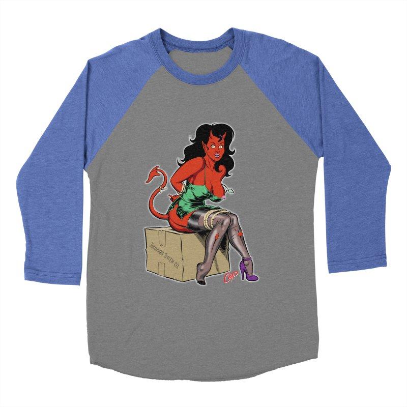 BONDAGE DEVIL GIRL Men's Baseball Triblend Longsleeve T-Shirt by The Art of Coop