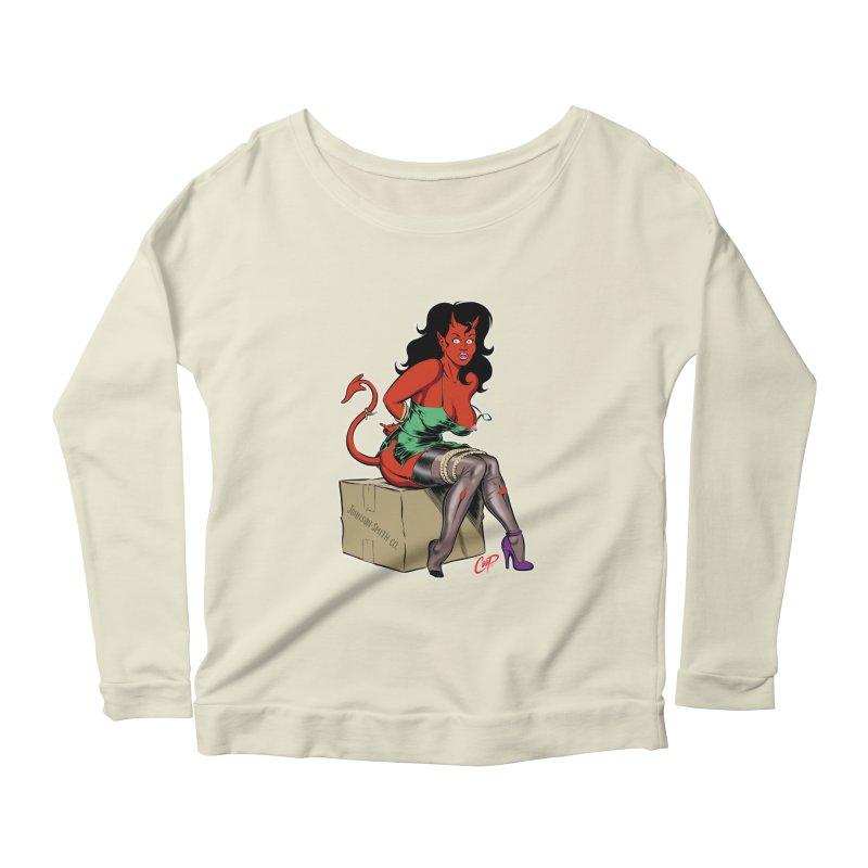BONDAGE DEVIL GIRL Women's Scoop Neck Longsleeve T-Shirt by The Art of Coop