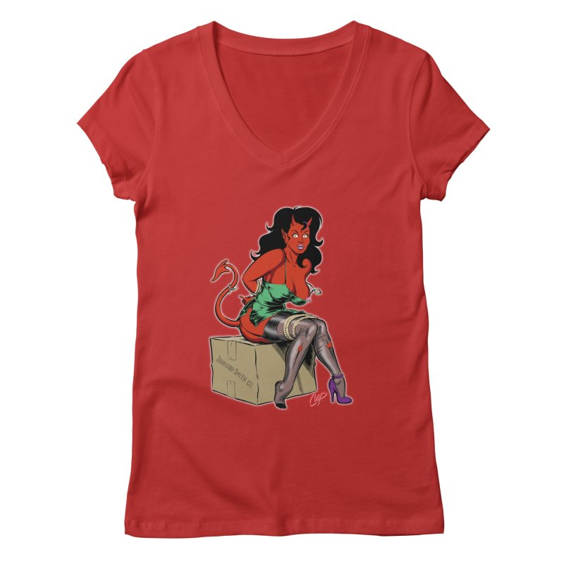BONDAGE DEVIL GIRL Women's Regular V-Neck by artofcoop's Artist Shop
