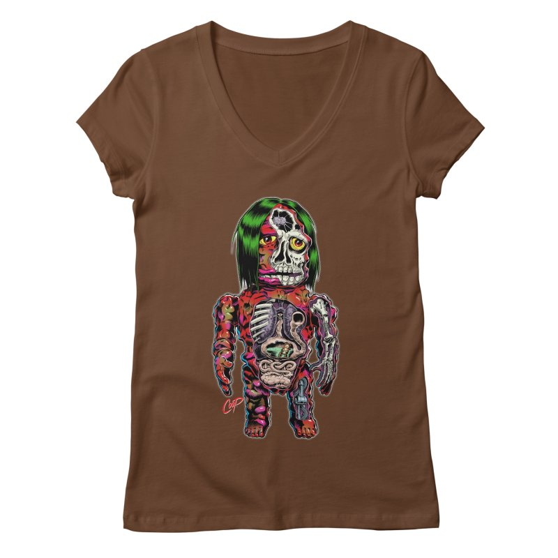 DISSECTED CAVEMAN Women's Regular V-Neck by The Art of Coop
