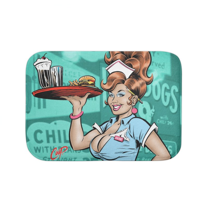 WAITRESS Home Bath Mat by artofcoop's Artist Shop