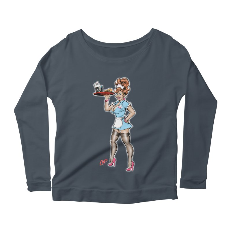 WAITRESS Women's Scoop Neck Longsleeve T-Shirt by artofcoop's Artist Shop