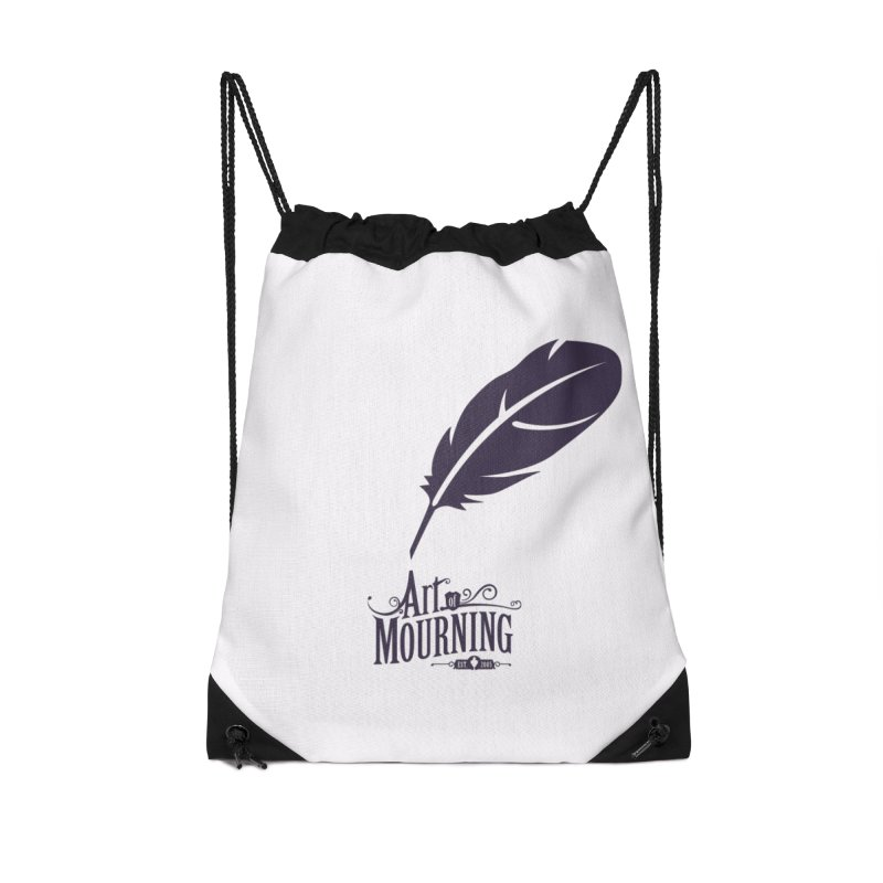 Art of Mourning 'Quill' Accessories Drawstring Bag Bag by The Art of Mourning Shop