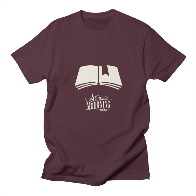 Art of Mourning 'Book' Reverse in Men's Regular T-Shirt Maroon by The Art of Mourning Shop