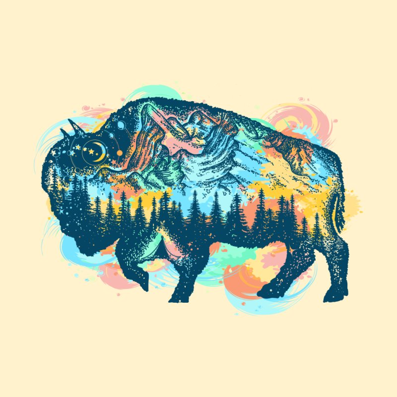 Buffalo Life Watercolour by Art of our Minds