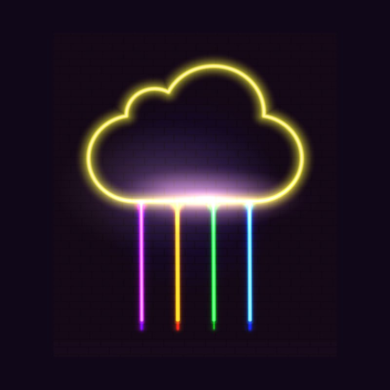 Neon Rainbow Cloud by Art of our Minds