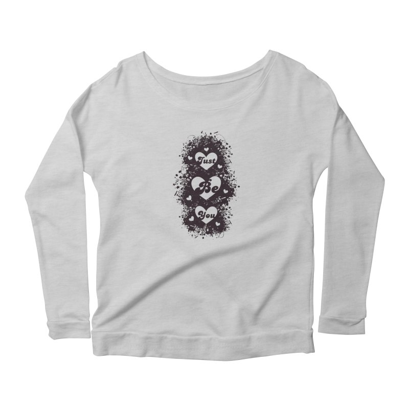 JUST BE YOU - Black Hearts in Women's Scoop Neck Longsleeve T-Shirt Heather Grey by Art Of Royalty