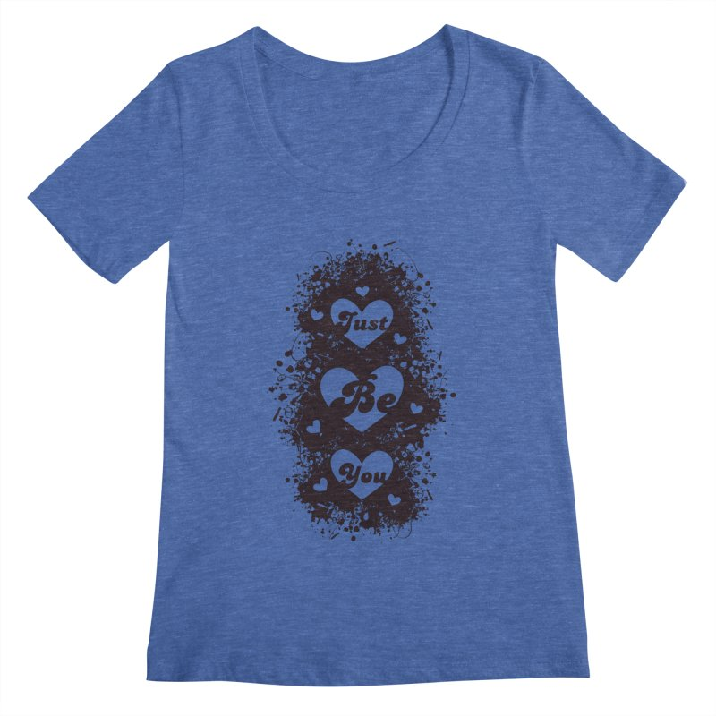 JUST BE YOU - Black Hearts Women's Scoopneck by Art Of Royalty