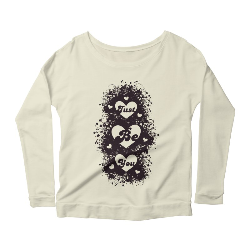 JUST BE YOU - Black Hearts Women's Scoop Neck Longsleeve T-Shirt by Art Of Royalty