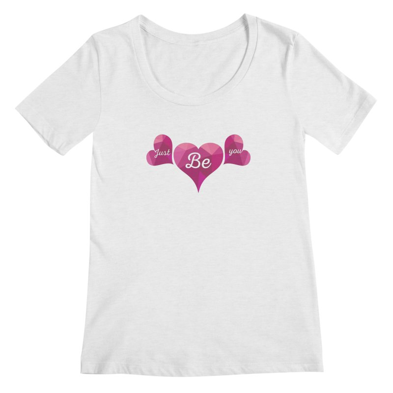 JUST BE YOU - Origami Hearts Women's Regular Scoop Neck by Art Of Royalty