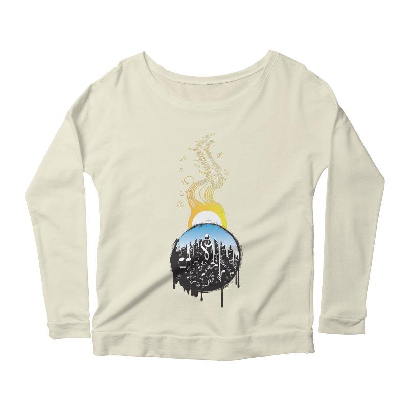 SUNSET MUSIC Women's Scoop Neck Longsleeve T-Shirt by Art Of Royalty