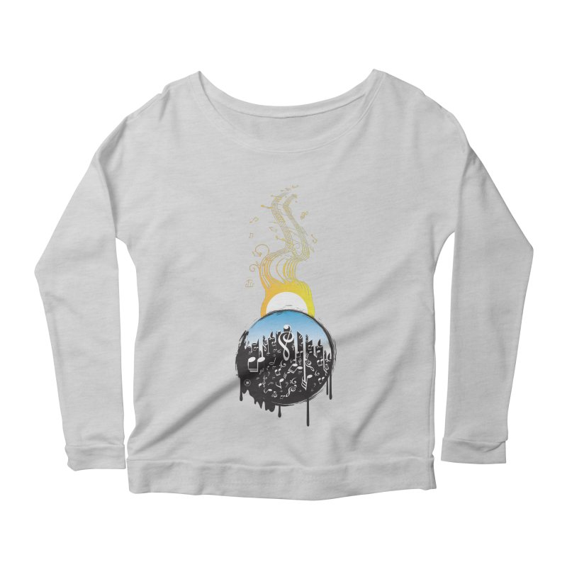 SUNSET MUSIC Women's Scoop Neck Longsleeve T-Shirt by Art Of Royalty