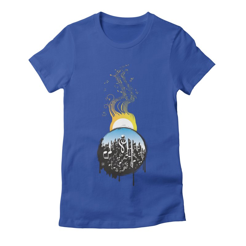 SUNSET MUSIC Women's Fitted T-Shirt by Art Of Royalty