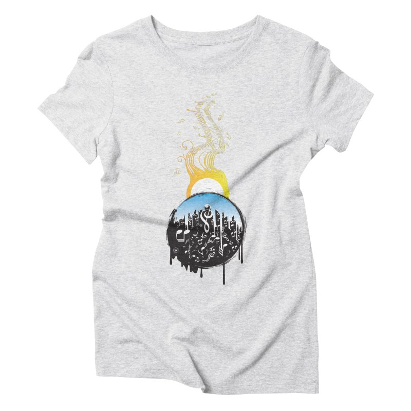 SUNSET MUSIC in Women's Triblend T-shirt Heather White by Art Of Royalty