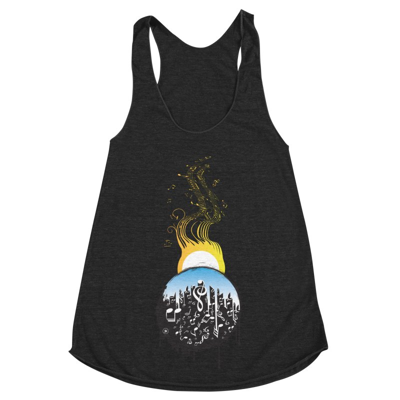 SUNSET MUSIC Women's Racerback Triblend Tank by Art Of Royalty