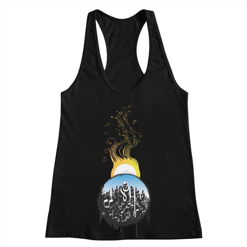 SUNSET MUSIC Women's Racerback Tank by Art Of Royalty