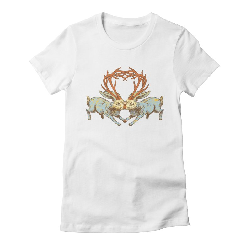 Jackalope love Women's Fitted T-Shirt by sturges artist shop