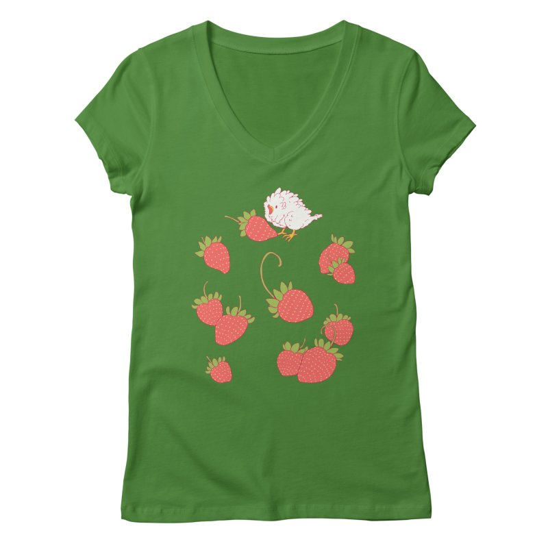 strawbirb (tianyulong confusci) Women's V-Neck by Art of Wendy Xu's Artist Shop