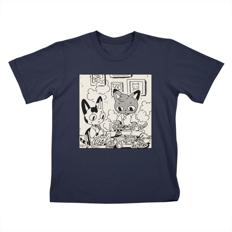 Hotpot Cats Kids T-Shirt by Art of Wendy Xu's Artist Shop