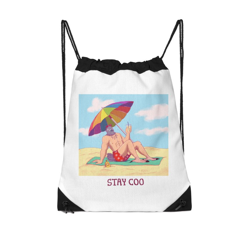 Stay Coo  Accessories Drawstring Bag Bag by Art of Wendy Xu's Artist Shop