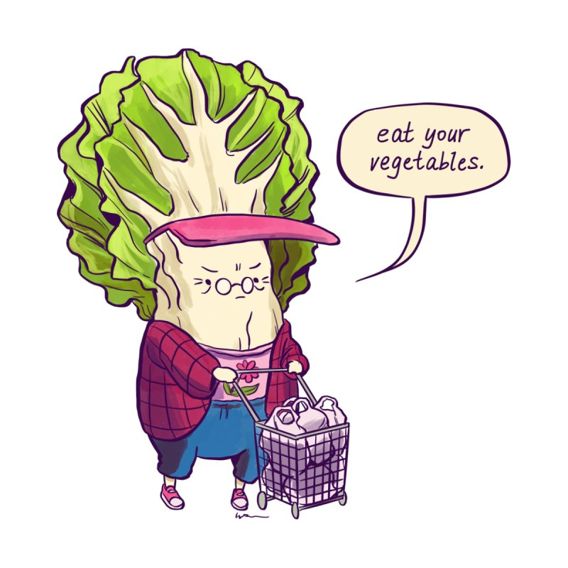 Cabbage Auntie Kids T-Shirt by Art of Wendy Xu's Artist Shop