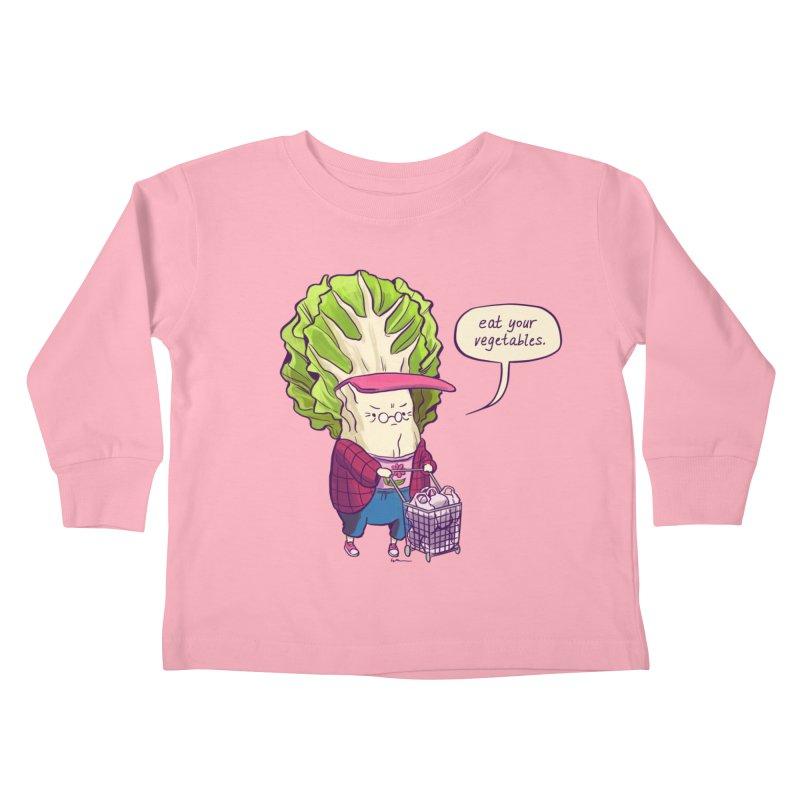 Cabbage Auntie Kids Toddler Longsleeve T-Shirt by Art of Wendy Xu's Artist Shop