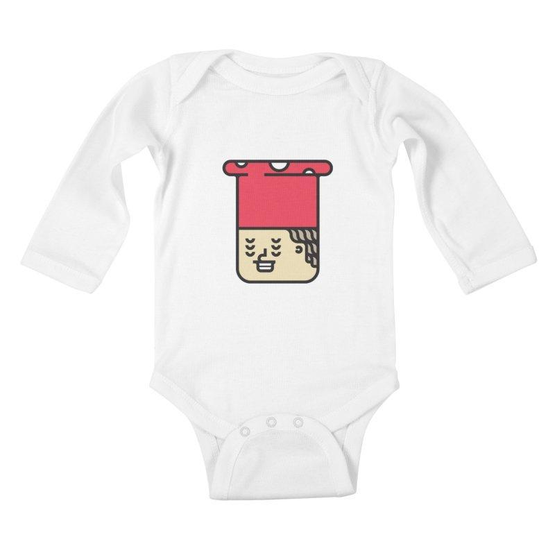 Mushroom Head Kids Baby Longsleeve Bodysuit by artojegas's Artist Shop