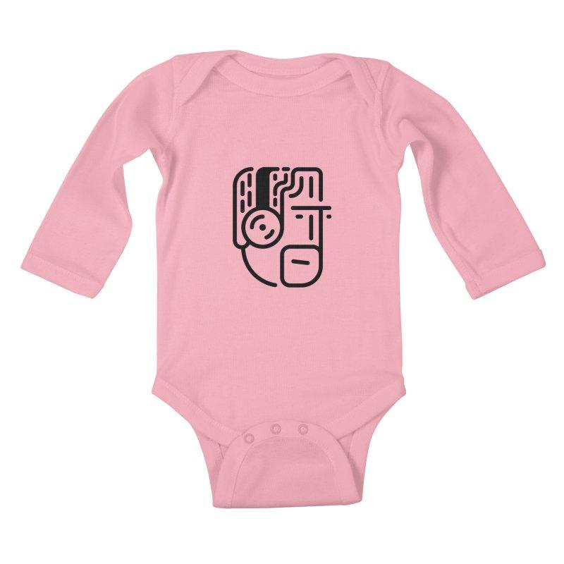 Music Head Kids Baby Longsleeve Bodysuit by artojegas's Artist Shop
