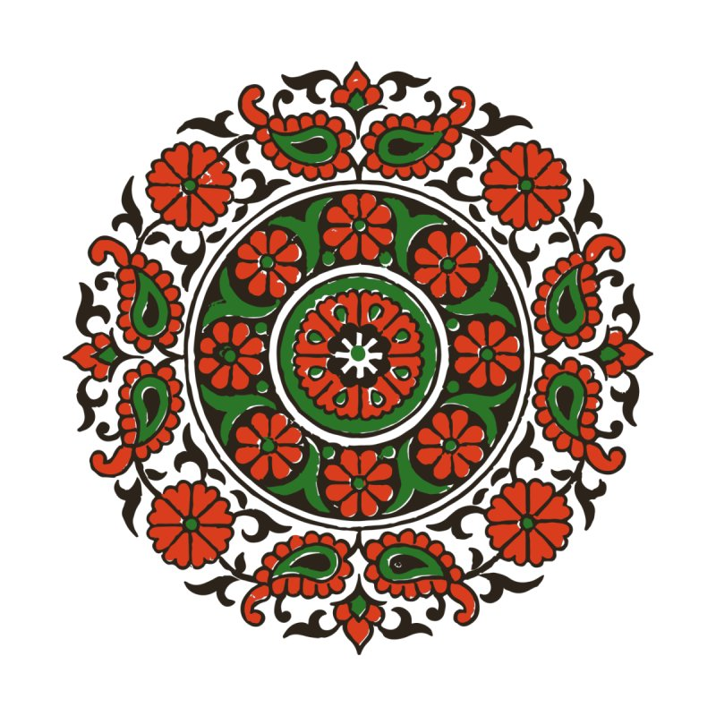 Mandala Red/Green Home Shower Curtain by Art On Everything