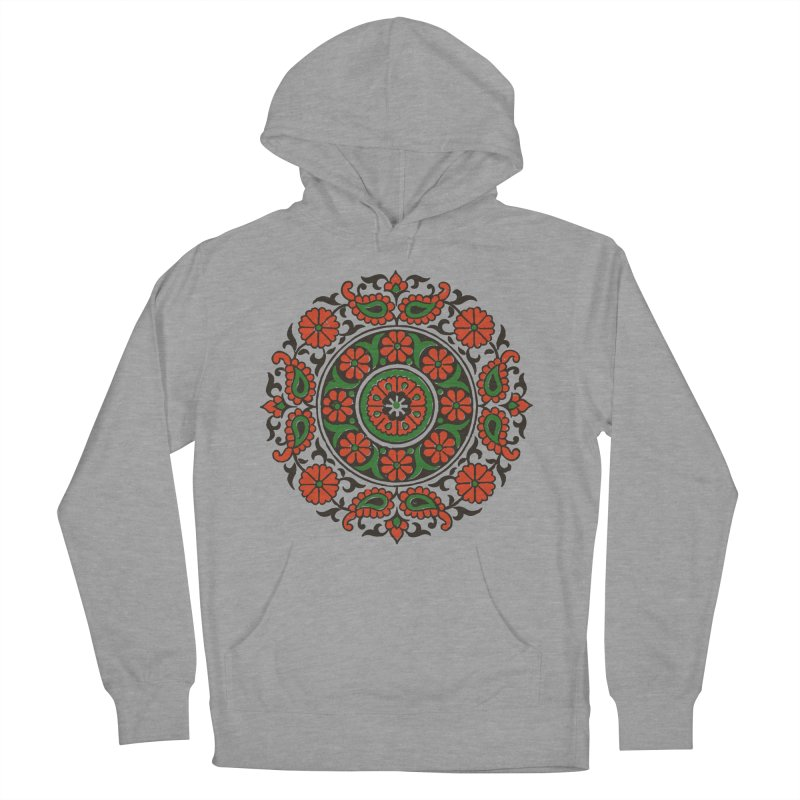 Mandala Red/Green Women's French Terry Pullover Hoody by Art On Everything